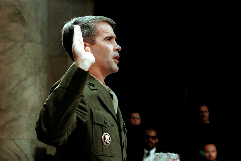 Oliver North, wearing a Marine uniform, raises his right hand.