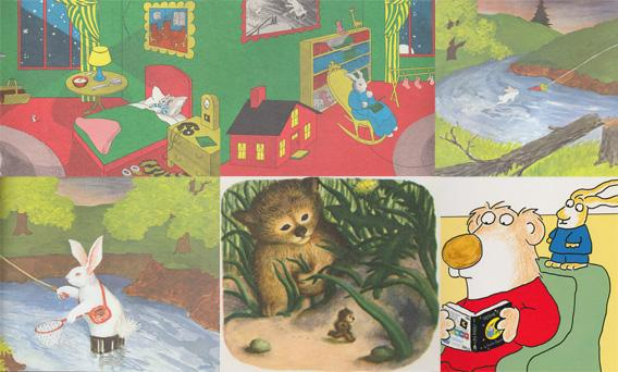 Top Row L-R: Goodnight Moon, Goodnight Moon, Runaway Bunny ; Bottom Row L-R: Runaway Bunny, Little Fur Child, Pajama Time