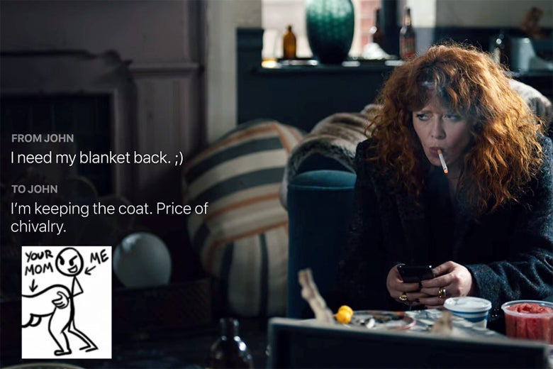 A still from Russian Doll where a GIF of a stickman having sex is in a text message.