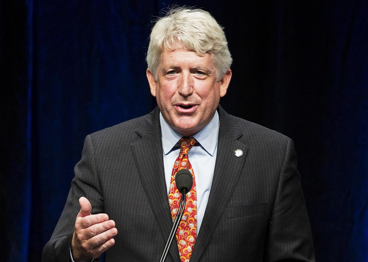 Virginia Attorney General Mark Herring speaks at the Virginia Democratic Party's annual Jefferson-Jackson party fundraising dinner at George Mason University in Fairfax, Virginia, June 26, 2015.