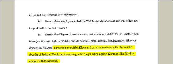 Here Klayman is alleging that Judicial Watch wanted to dissassociate itself from him. But elsewhere in the complaint (p. 12, para. 44) Klayman gripes that they left his name on the stationery.