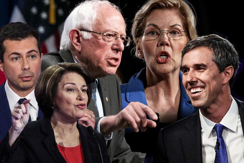 Pete Buttigieg, Amy Klobuchar, Bernie Sanders, Elizabeth Warren, and Beto O'Rourke