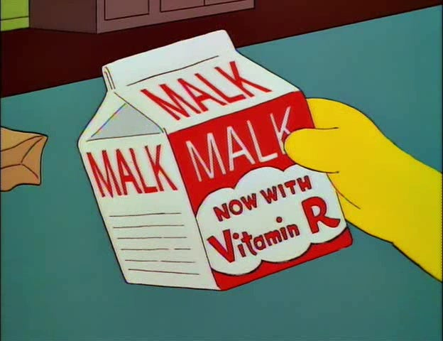 "An image from The Simpsons showing Bart's hand holding a bottle of ""Malk."""
