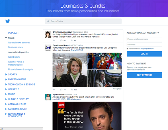 The new Twitter home page highlights conversations from journalists and pundits.