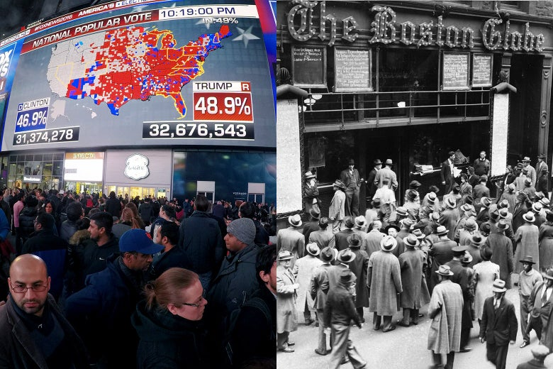 People in Times Square looking at the presidential results on a large jumbotron in 2106 and a crowd gathered outside The Boston Globe in 1940 looking at presidential results posted on a bulletin board.