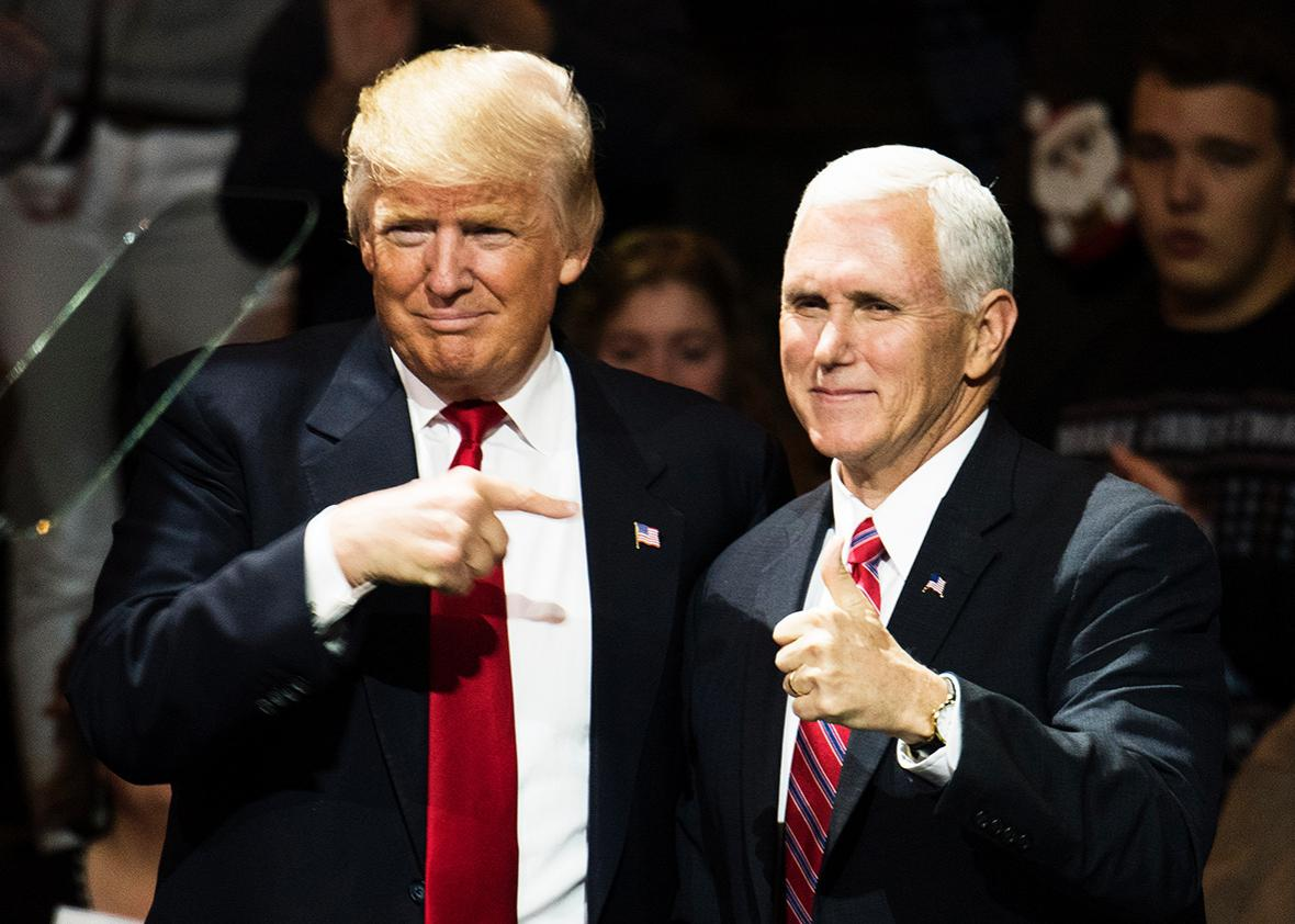 President-elect Donald Trump and Vice President-elect Mike Pence stand onstage together at U.S. Bank Arena on December 1, 2016 in Cincinnati, Ohio.