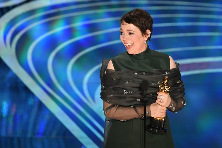 Olivia Colman accepts the award for Best Actress.