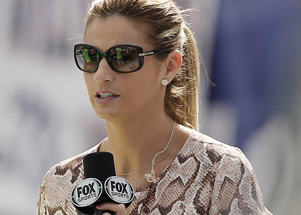 Fox Sports reporter Erin Andrews on Sept. 22, 2013, in Foxboro, Mass.