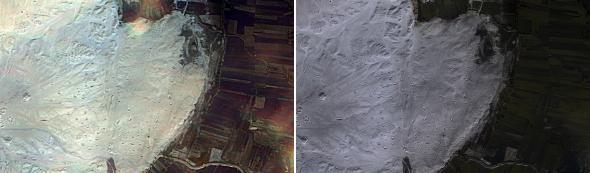 These are images of the famous New Kingdom (ca. 1800 BC) Harem town of el-Gurob, Egypt.  In the before, very little is evident besides the remains of a large rectangular palace.  In processed infrared high-resolution image, you can see the entire town to the north of the palace—elite villas, a street, and other structures.