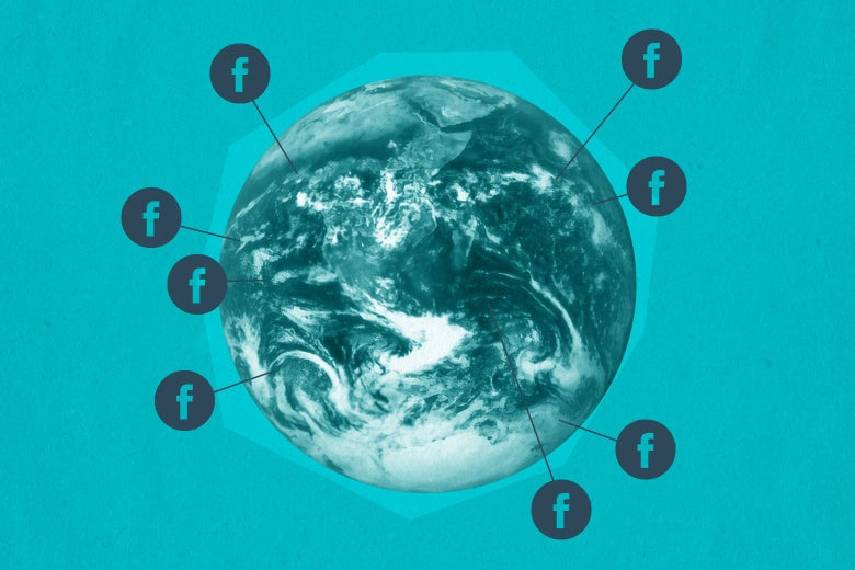 Globe surrounded by Facebook logos.