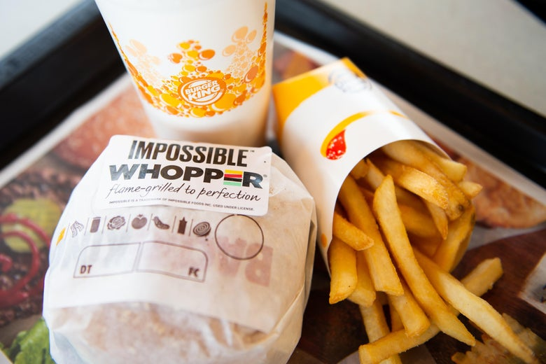 Burger King Impossible Whopper and fries