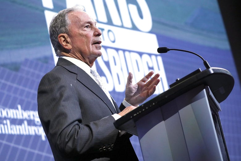 Michael Bloomberg speaks at a film screening hosted by Bloomberg Philanthropies and National Geographic.