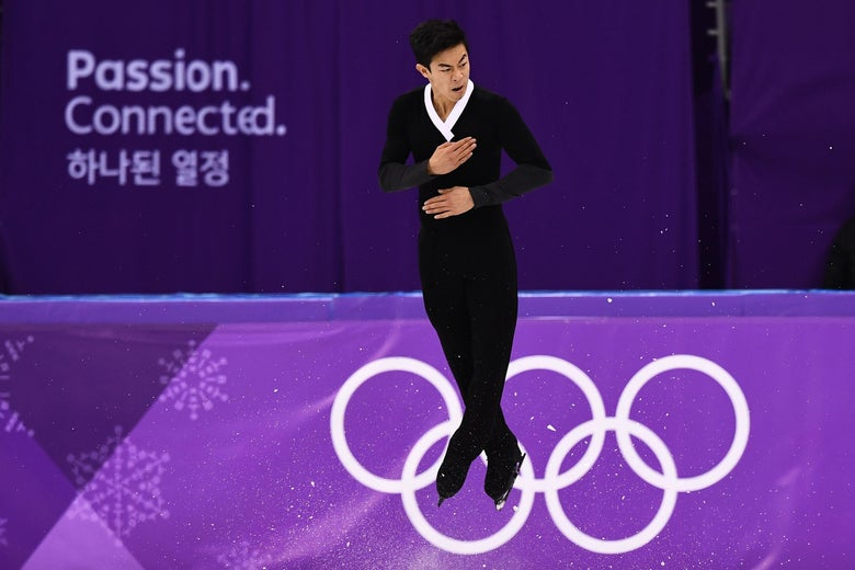 TOPSHOT - USA's Nathan Chen competes in the men's single skating free skating of the figure skating event during the Pyeongchang 2018 Winter Olympic Games at the Gangneung Ice Arena in Gangneung on February 17, 2018. / AFP PHOTO / ARIS MESSINIS        (Photo credit should read ARIS MESSINIS/AFP/Getty Images)