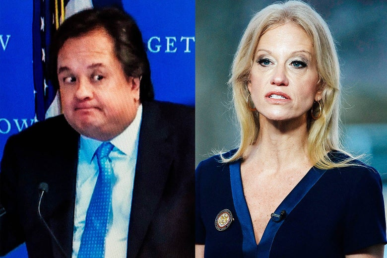 "George Conway, making a sort of ""not guilty,"" expression and Kellyanne Conway speaking."