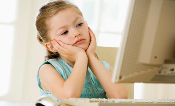 Girl using computer.