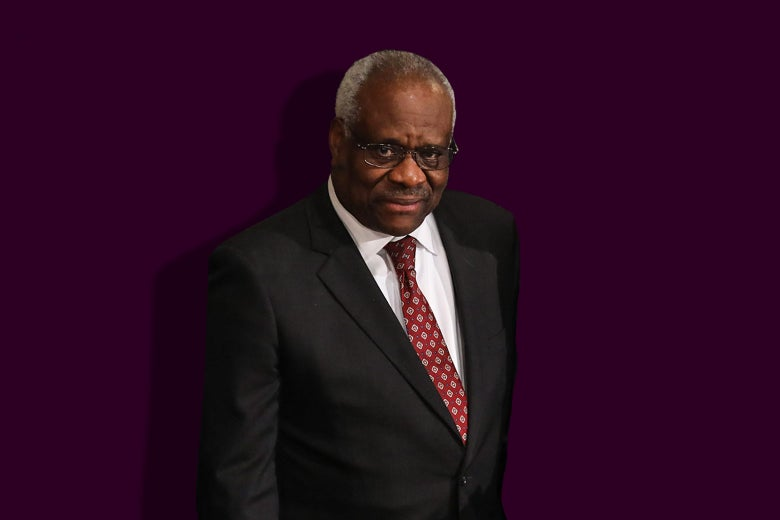 Photo illustration of Supreme Court Justice Clarence Thomas against a purple background.