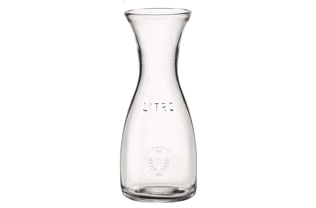 Glass carafe.