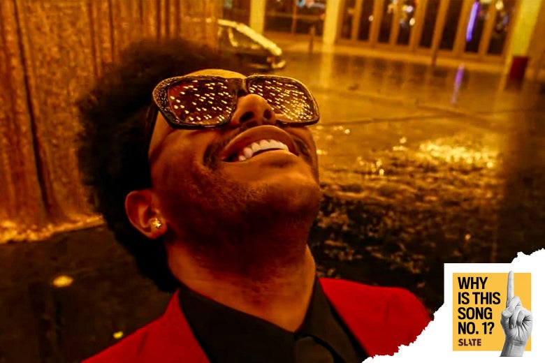 The Weeknd leans back and smiles with Vegas lights reflected in his sunglasses. The Why Is This Song No. 1 logo is in the corner.