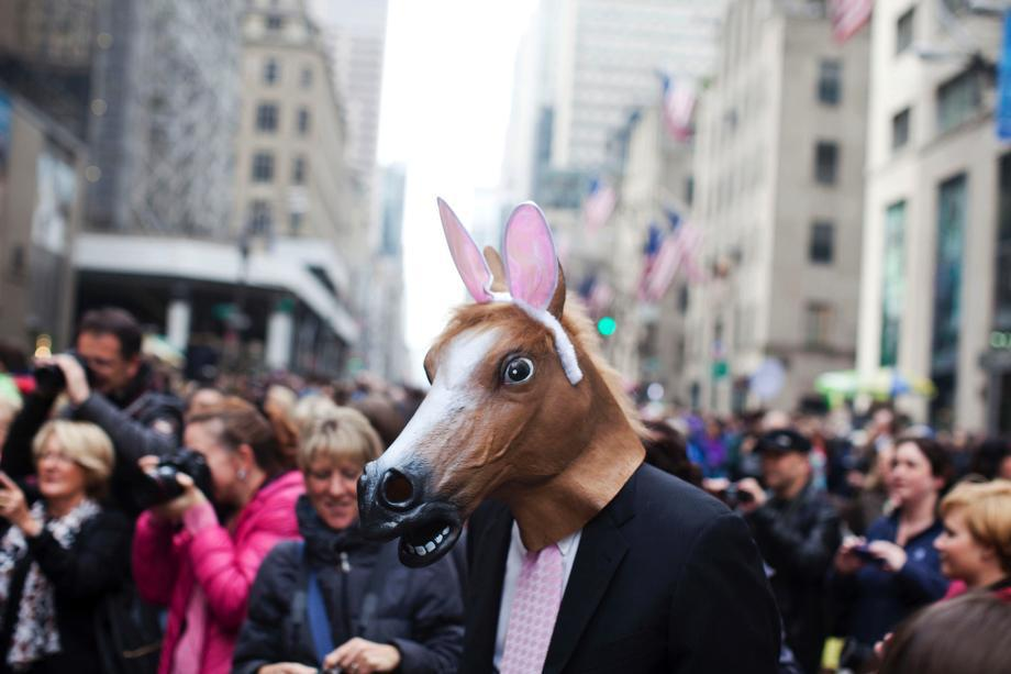 Revelers participate during the annual Easter Day procession on 5th Avenue on March 31, 2013 in New York City.