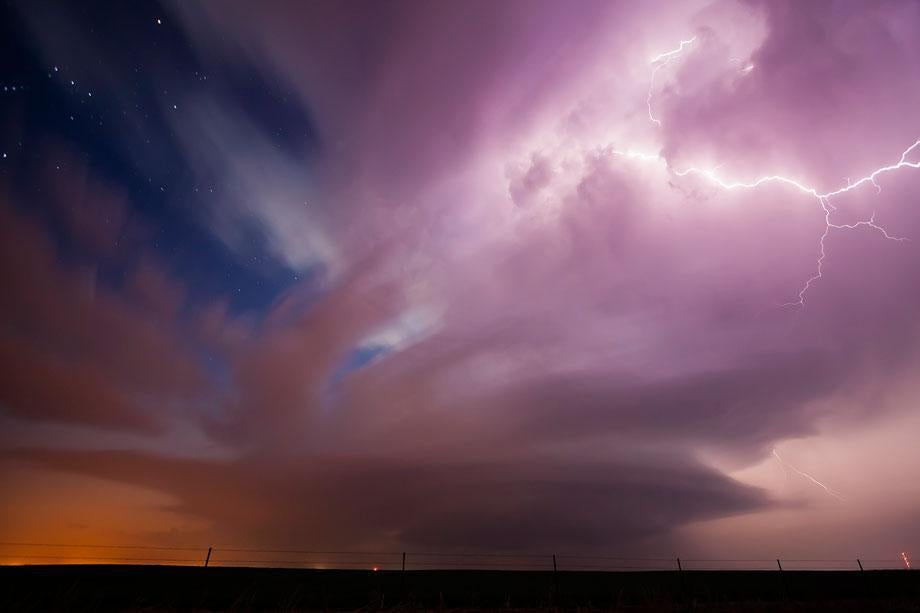 A supercell spins and produces lightning over western Oklahoma, March 30, 2008.