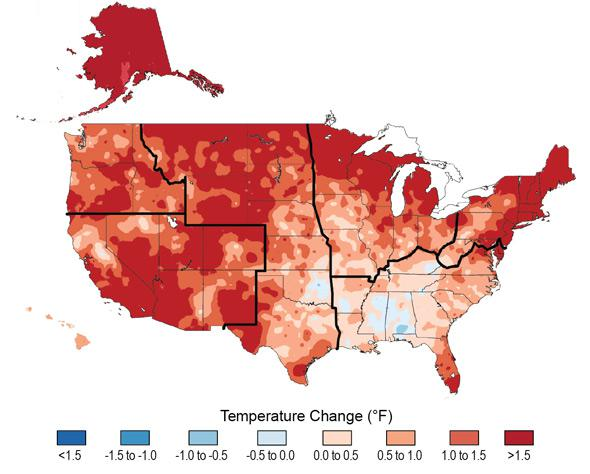temperature changes in the US