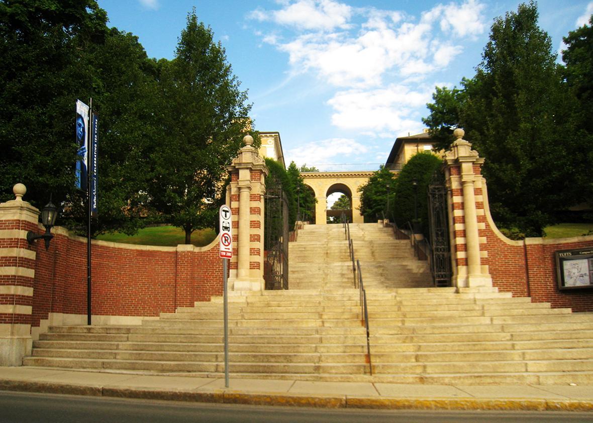 Main gate, Tufts University, Medford, Massachusetts, USA.