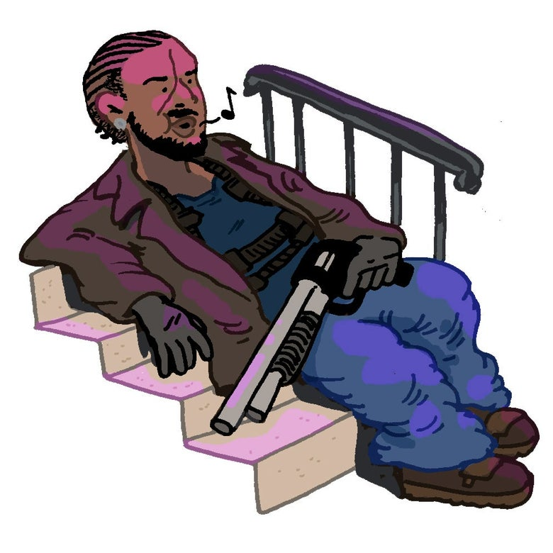 Illustration of Omar Little sitting on a stoop in The Wire.