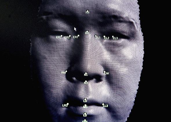 A 3D facial recognition program is demonstrated during the Biometrics 2004 exhibition and conference October 14, 2004 in London.