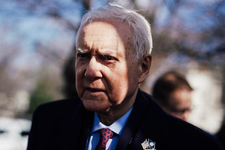 Utah Sen. Orrin Hatch arrives at a news conference in front of the U.S. Capitol March 13 in Washington.