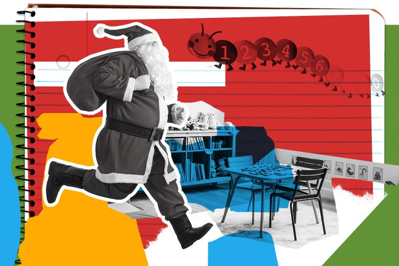 Santa Clause holds a large sack over his shoulder as he runs through a classroom.