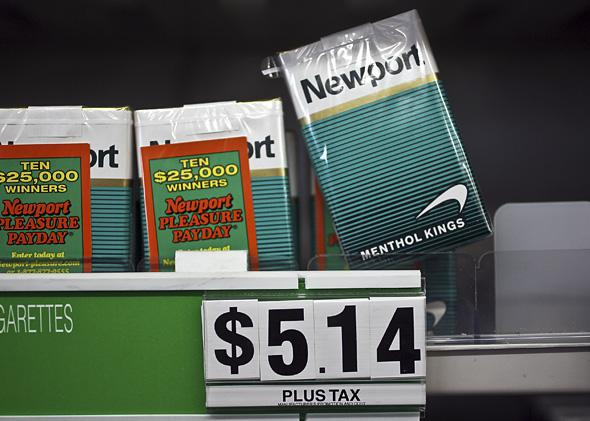 Menthol cigarettes are seen for sale