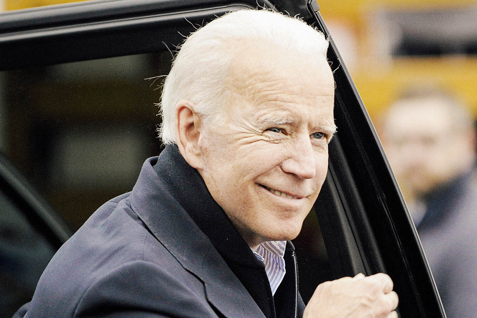 Joe Biden arrives at a  rally organized by UFCW Union members to support Stop and Shop employees on strike throughout the region on Thursday.