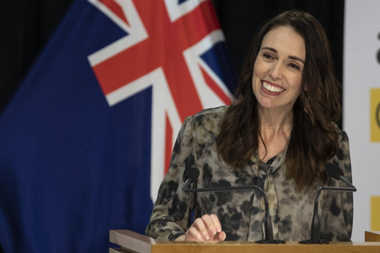 Prime Minister of New Zealand Jacinda Ardern speaks at a COVID-19 press conference at the Beehive Theatrette, Parliament on May 20, 2020 in Wellington, New Zealand.