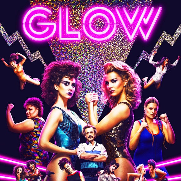 Title card for GLOW, featuring female wrestlers.