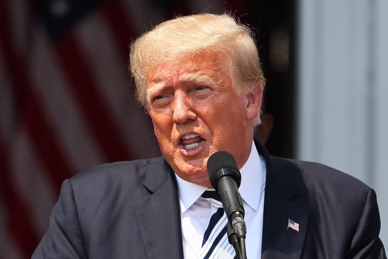 Former President Donald Trump speaks during a news conference announcing a class action lawsuit against big tech companies at the Trump National Golf Club Bedminster on July 7, 2021 in Bedminster, New Jersey.