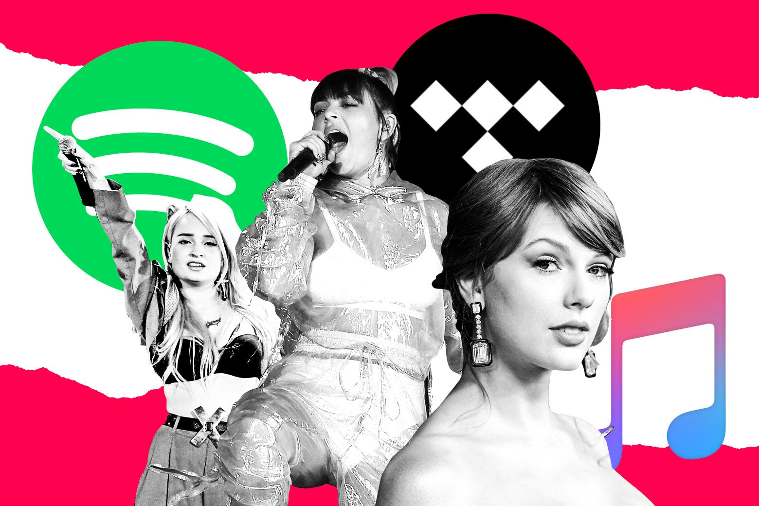 Kim Petras, Charli XCX, and Taylor Swift in front of logos for Spotify, Tidal, and Apple Music.