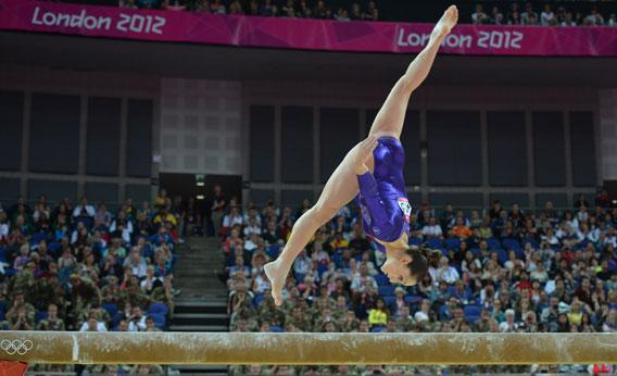 US gymnast Jordyn Wieber performs on the beam during the women's qualification of the artistic gymnastics event of the London Olympic Games on July 29, 2012.