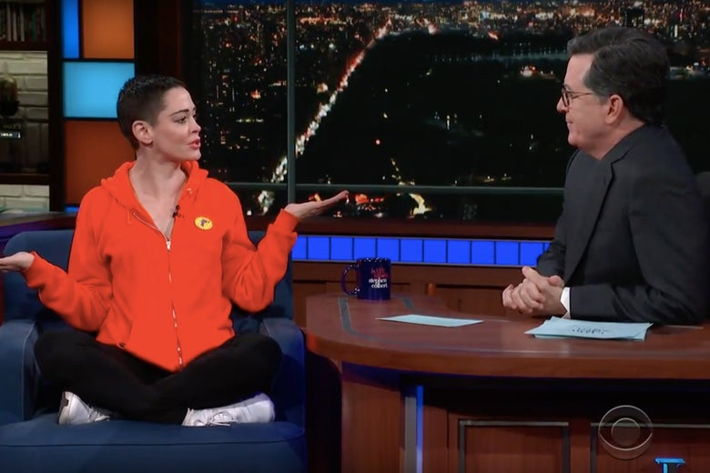 Rose McGowan on The Late Show with Stephen Colbert.