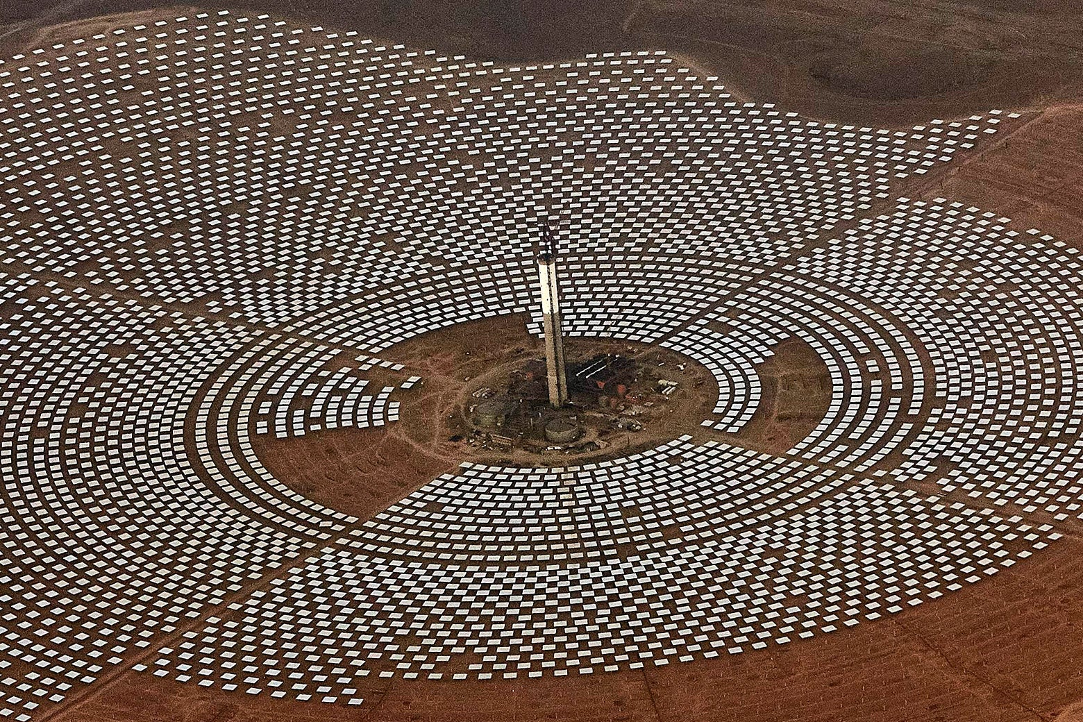 Aerial view of the Noor 3 solar power station near Ouarzazate, Morocco.