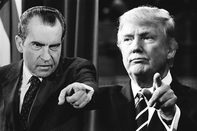 A composite of black-and-white photos of Richard Nixon and Donald Trump, both pointing.