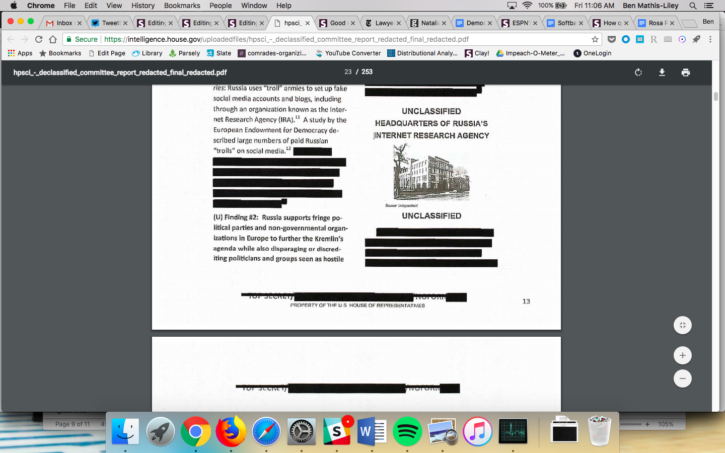 """A blurry black and white image of a building labeled """"Headquarters of Russia's Internet Research Agency."""""""
