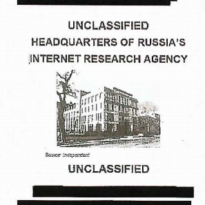 "A blurry black and white image of a building labeled ""Headquarters of Russia's Internet Research Agency."""