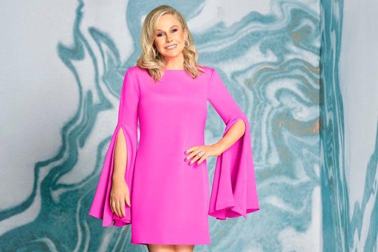 Kathy Hilton, in a pink dress