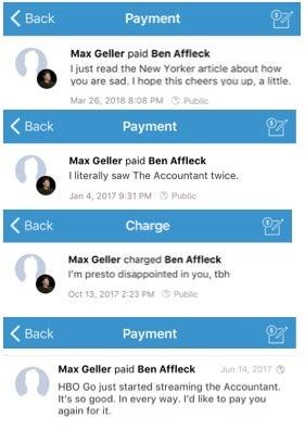 Venmo exchanges between a random guy and Ben Affleck.