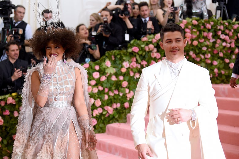 NEW YORK, NEW YORK - MAY 06: Priyanka Chopra and Nick Jonas attend The 2019 Met Gala Celebrating Camp: Notes on Fashion at Metropolitan Museum of Art on May 06, 2019 in New York City. (Photo by Jamie McCarthy/Getty Images)