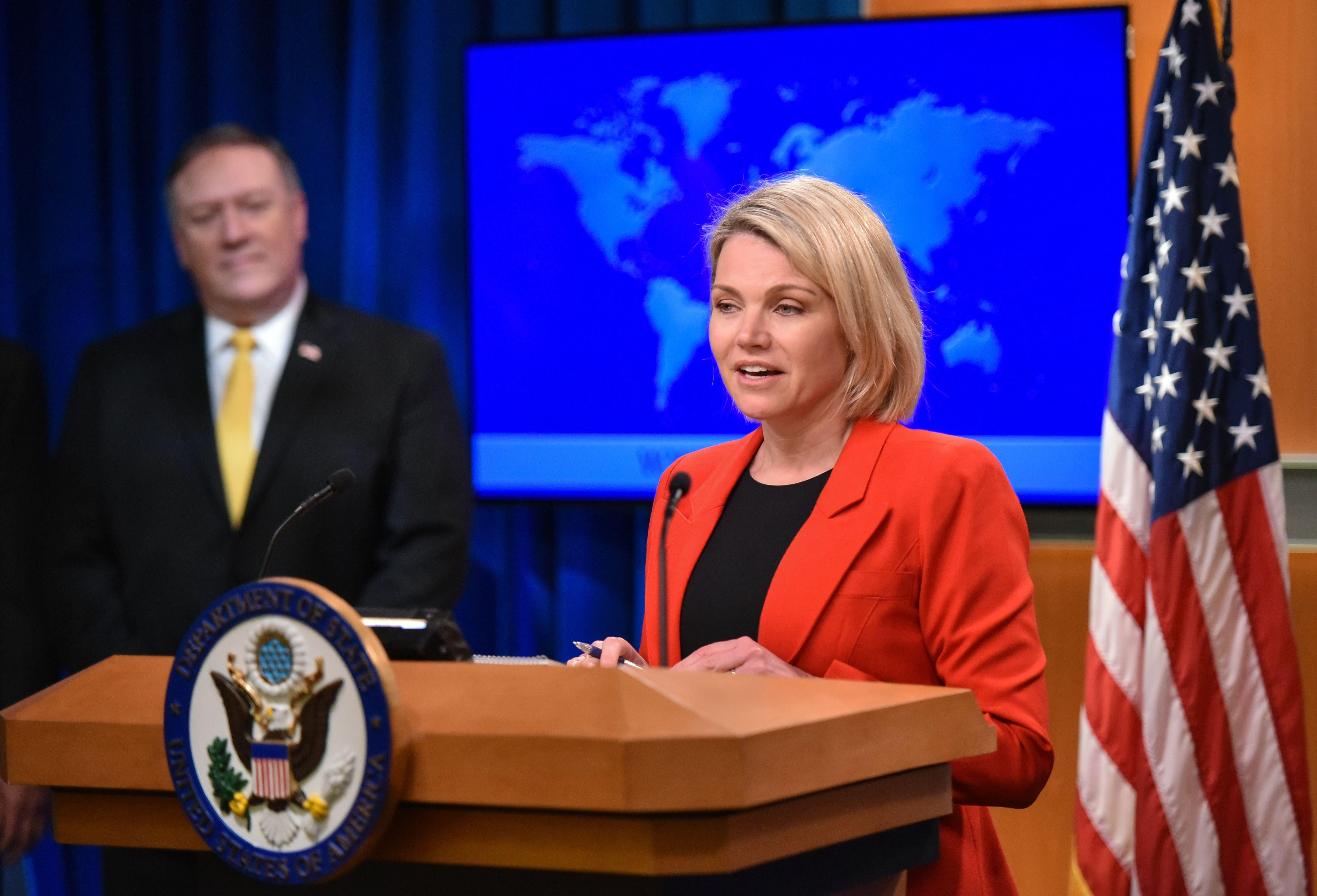 State Department spokesperson Heather Nauert introduces Secretary of State Mike Pompeo in the Press Briefing Room at the  Department of State in Washington, DC.