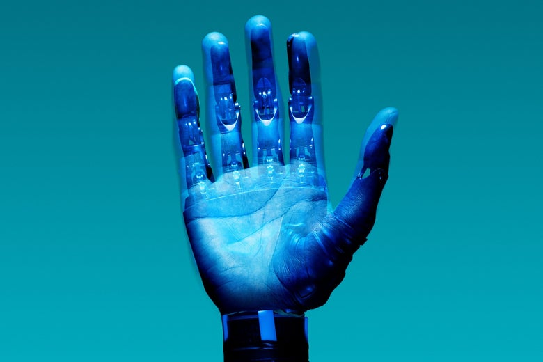 A hand bathed in blue light, superimposed with electronics.