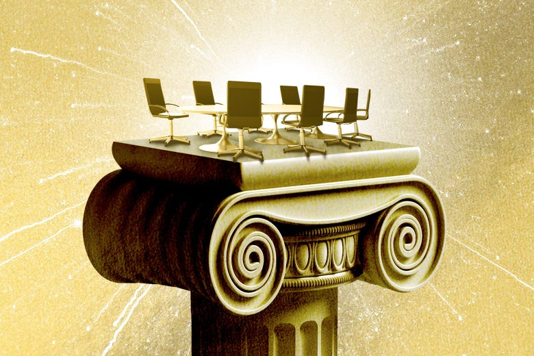 A conference table and chairs, glowing in gold, sit atop a golden Ionic column.