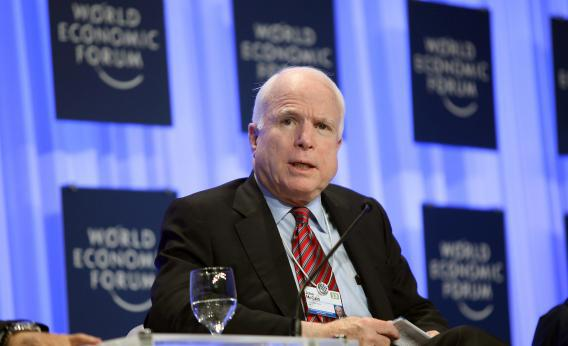 Sen. John McCain speaks during a panel discussion at the World Economic Forum on the Middle East and North Africa on the shores of the Dead Sea, 55 km southeast of the Jordanian capital Amman, on May 25, 2013.