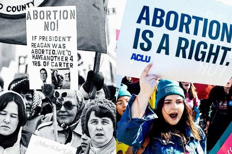 "A black-and-white historic photo of abortion protesters and a modern-day photo of protesters holding signs that say things like, ""Abortion is a right."""